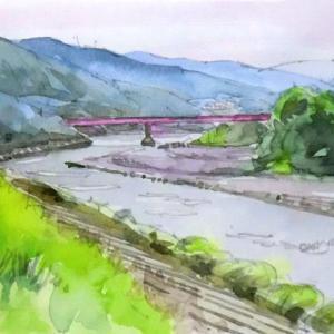 天竜に架かる赤い橋