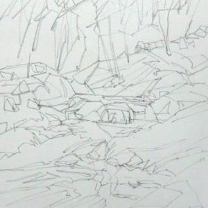 渓谷の描き方