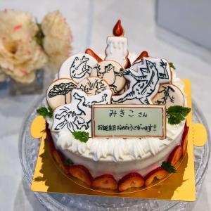 鳥獣戯画バースデーケーキと和風シンプルバースデーケーキ