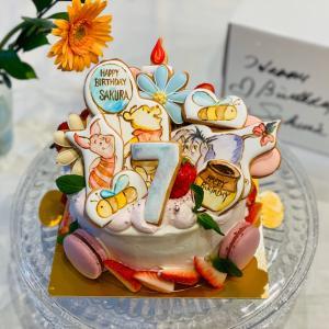 手描き風プーさんバースデーケーキとアイシングクッキーキット