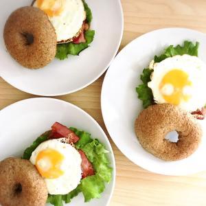 砂糖・卵不使用の全粒粉ベーグルサンド^ ^