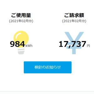 【困惑?】高いけど安い?でも高い?・・・2021年2月電気代