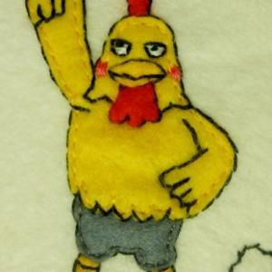 フェルトまんだら「ヒガシマル うどんスープオールスターズ」9人め:鶏南うどんの「トリ・ナンバーノ」