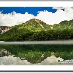 朝靄立つ盛夏の大正池