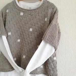 グレーの綿糸で半袖プルオーバー!