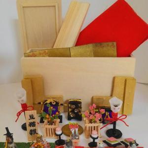 ミニチュア ひな祭り 豆雛 猫のお雛様 三段飾り 収納箱付き ヤフオク出品中!
