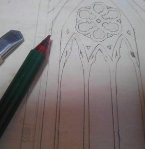 ドールハウス ミニチュア クリスマス制作中~ネオゴシック風のドアと窓を作ってみたい!