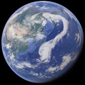 台風19号、地球規模で見るとこんな形