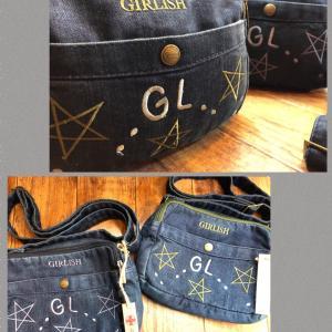 GIRLISHデニム星の刺繍ショルダーバッグ