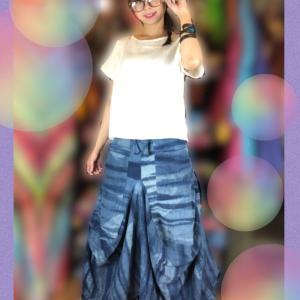 ダブルガーゼ藍染め変形スカート