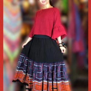 モン族古布スーパーフレアスカート