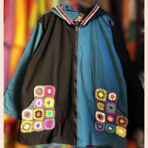 ネパール手編みクロシェバイカラーパーカージャケット