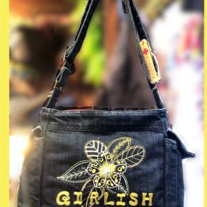 GIRLISHデニムフラワー刺繍ショルダーバッグ