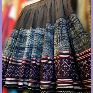 モン族古布リメイクミニスカート