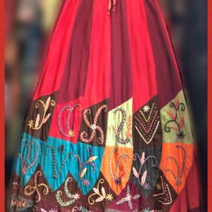ネパールパッチワーク手刺繍ロングスカート