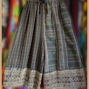 ラオス織シルク刺繍ヴィンテージ古布パンツ