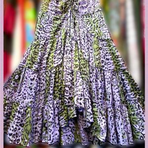 レオパード柄ふんわりドレープスカート