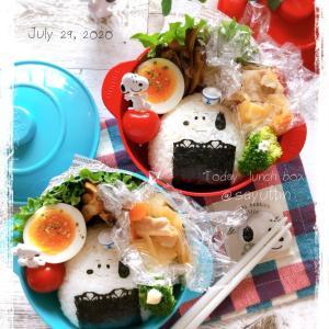 三角おにぎりでスヌーピー弁当~JK姉妹のおべんとう♪