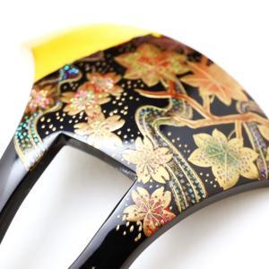 先白べっ甲桜楓流水螺鈿金蒔絵かんざし2020|桜楓文、かんざしの挿し方、色留袖や訪問着、附下など