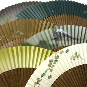 紳士用扇子2020・6種|ちょっと高級な京扇子、手描き、箔使い、短地|松、竹、富士山、蜻蛉、蕪(