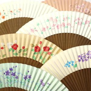 婦人用短地扇子2020・6種|手描き京扇子六寸五分|桔梗、紫陽花、椿、桜、撫子