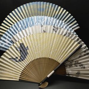 スモーキーな色合いのシックな紳士用扇子2020・4種|鯉、竹、川魚、渦潮、箔のぞき。