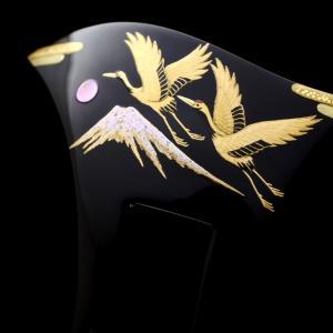 べっ甲夫婦鶴富士山螺鈿金蒔絵かんざし2021|結婚式などの慶事、黒留袖におすすめな礼装用のべっ甲
