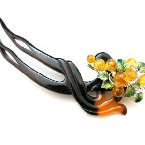べっ甲葡萄装飾付き4WAYかんざし|縁起物の葡萄(琥珀・七宝・銀(SV925)製)を添えたユニー