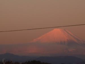 お目覚め・・・?のベランダ富士山