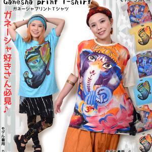 ガネーシャプリントコットンユニセックスTシャツ♪