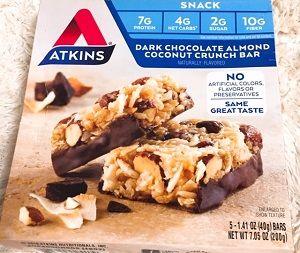 【美味♪】チョコレートアーモンドココナッツ味!【Atkins】Snack, Dark Chocolate Almond Coconut Crunch Bar
