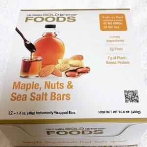 【新着!】ここ最近で一番テンションあがった!カリゴールドの新作メープル味のプロテインバー♪California Gold Nutrition, Maple, Nuts & Sea Salt Barsを食べました!