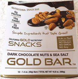 美味過ぎなプロテインバー♪→ダークチョコレートナッツ & シーソルトバー California Gold Nutrition, ダークチョコレートナッツ & シーソルトバー