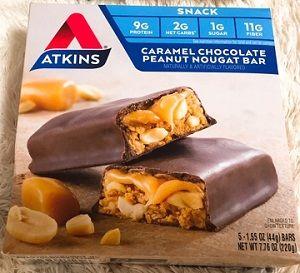 糖質2gのキャラメルチョコレートピーナッツヌガーバー♪!!【Atkins】ダイエット & 減量バー