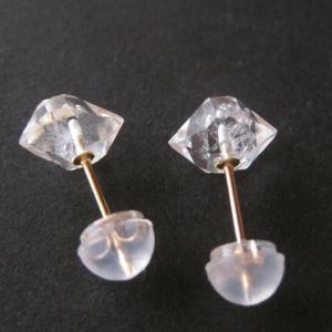 新作:【K10】ダイヤモンドクォーツの原石ピアス/Pakistan