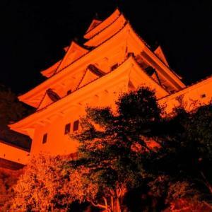郡上市/郡上八幡城オレンジ色ライトアップ・世界アルツハイマー月間