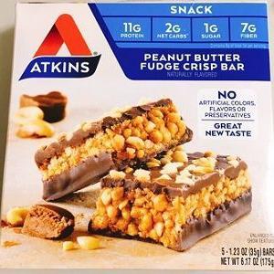 糖質2g!太らないチョコレートバー Atkins,ピーナッツバターファッジクリスプバー