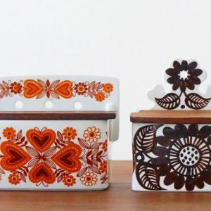 北欧ヴィンテージ食器|アラビアの木蓋つきソルトボックス