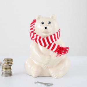 北欧フィンランド「 白くま貯金箱」2021マフラー付き 入荷しました。