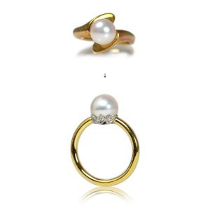 K18YG/Pt900製あこや真珠・ダイアモンドリング