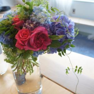 紫陽花とプリン