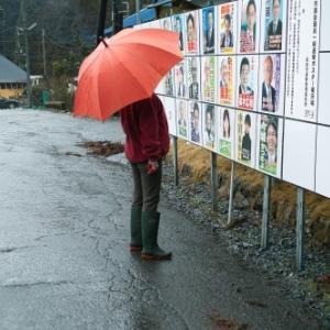 選挙ポスター掲示板・・・餃子と芋焼酎