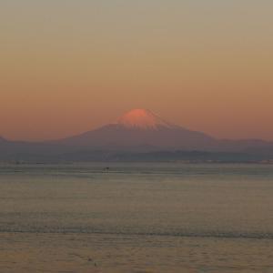 久しぶりの自転車散歩!冷えるねぇ~ でも、日の出も富士山も最高!! 葉山の和楽・・・閉店??