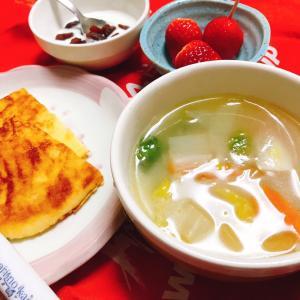 野菜スープで朝ごはん