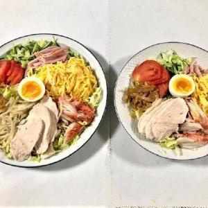 【 夕食は『冷やし中華』(?)『サラダ麺』(?) 具材いっぱい・・・  ★ お取り寄せの「生うに」の味見】