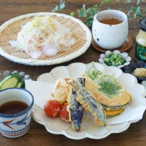 素麺と天ぷらのお昼ごはんとオススメ調味料
