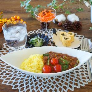 すぐにできるミニトマトと小松菜のカレー