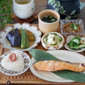 作り置きと焼き鮭で昼ごはん