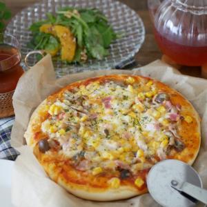 キノコマリネのピザ