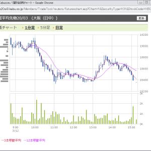 2020/03/12 コロナ株価大暴落のSQ前日、日経平均ストップ安以下のプットの値動き